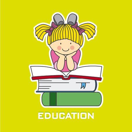 niño escuela: niña leyendo un libro