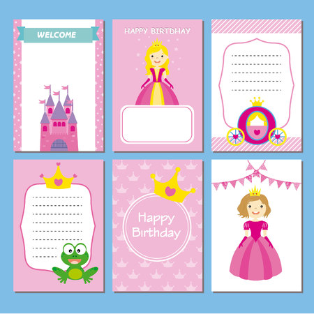 party girl: girl birthday party cards. princesses set Illustration