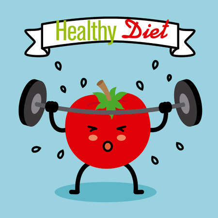 healthy diet. tomato doing weights