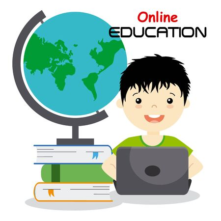 studying computer: boy with computer studying online. isolated vector