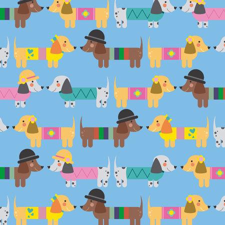 dachshund: Seamless decorative background with Dachshund Illustration