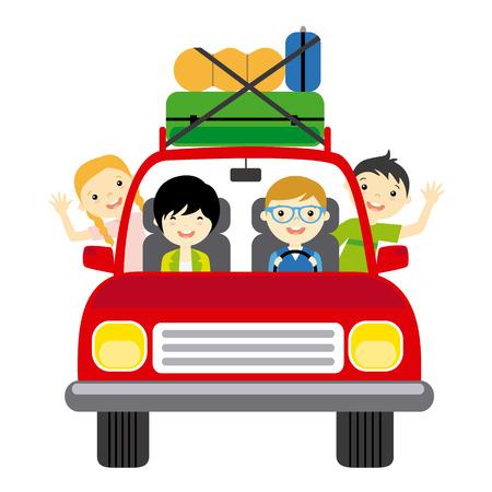 Familie geht in den Urlaub mit dem Auto anreisen