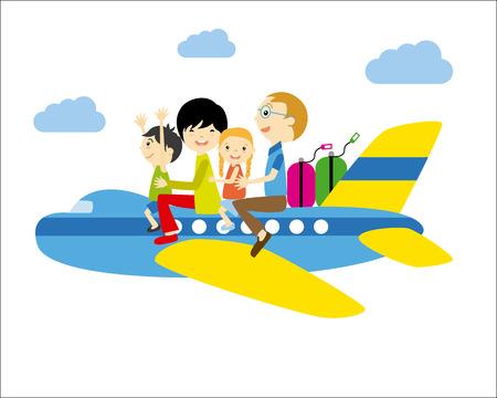 familia que viaja el avión