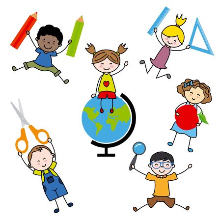 objects: Children with school objects Illustration