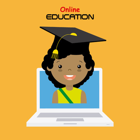 computer education: girl with computer. online education