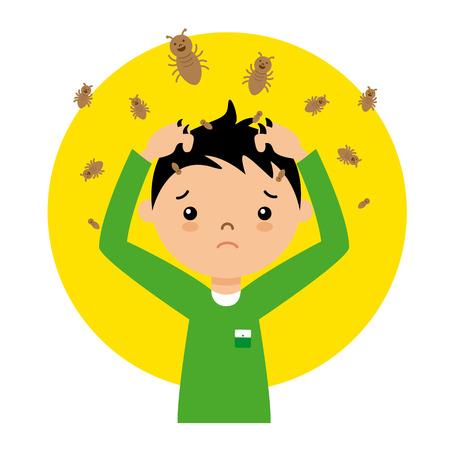 kind met luizen Vector Illustratie