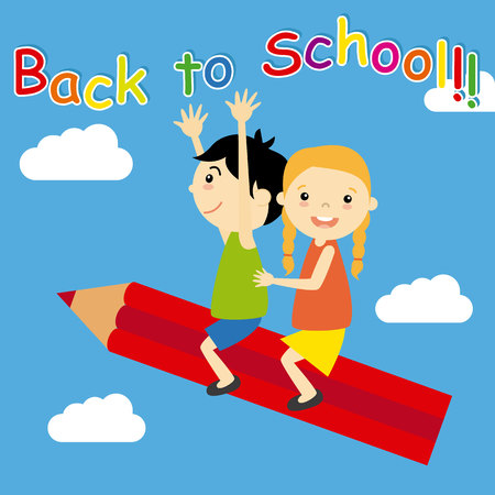esp: Children flying above a pencil. back to school