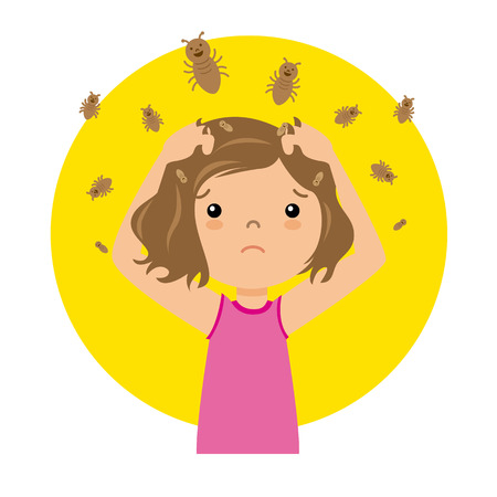 head and  back: Girl with lice Illustration