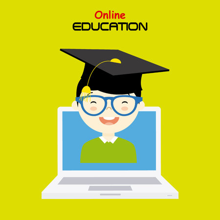 computer education: boy with computer. online education