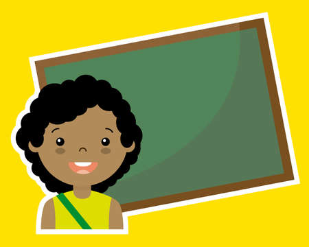 space for writing: Girl with blackboard. blank space for writing Illustration
