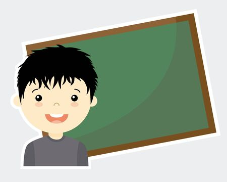 space for writing: Boy with blackboard. blank space for writing Illustration