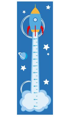millimeters: meter wall rocket Illustration