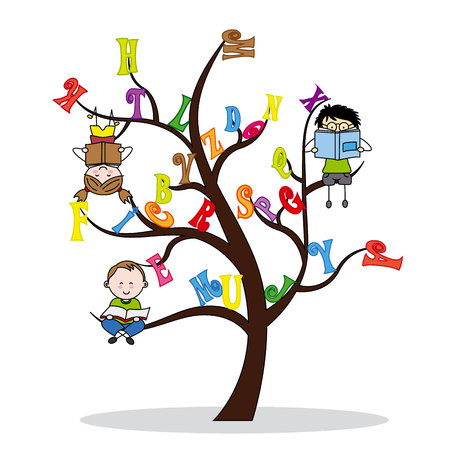 tree with the alphabet and children reading Illustration