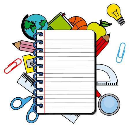 space for writing: notebook with space for writing. school objects
