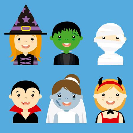 avatar collection of happy children dressed as halloween Illustration