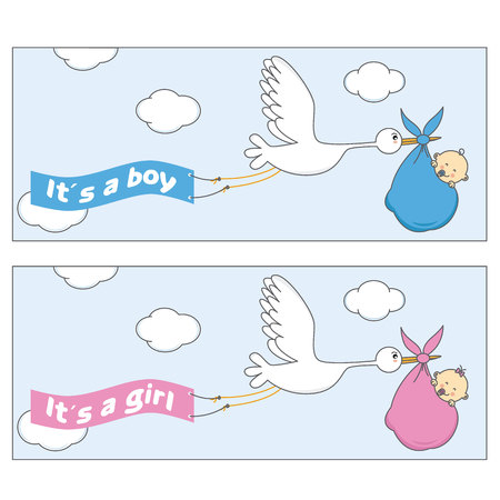baby face: Stork with baby. Girl and boy Illustration