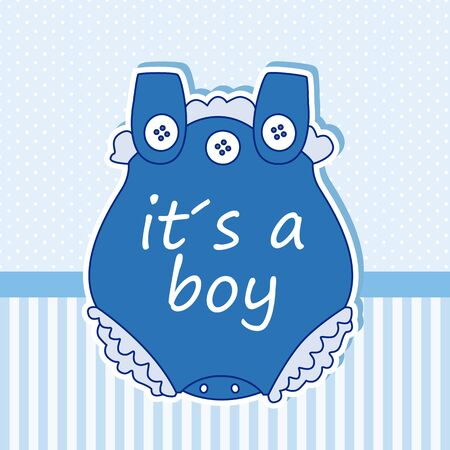 baby boy: Baby boy shower card. Baby clothes Illustration