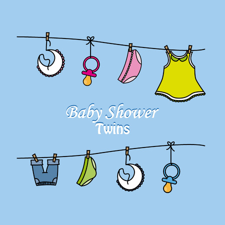 baby girl: Twins baby shower.clothes Baby boy and girl Illustration