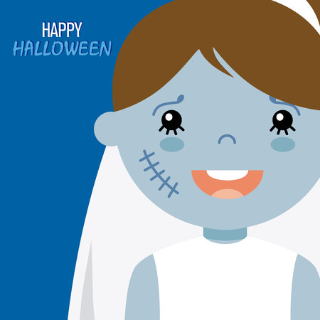 disguised: Happy halloween card. girl disguised as a zombie bride Illustration