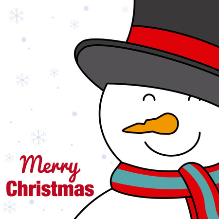 happy christmas: merry christmas card. Happy snowman Illustration