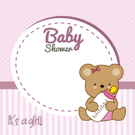 baby girl: baby shower girl. Frame baby bear