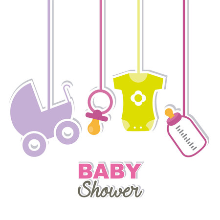 baby girl: baby shower card. it�s a girl Illustration