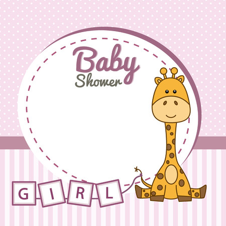 baby girl: baby shower girl. Frame baby giraffe Illustration