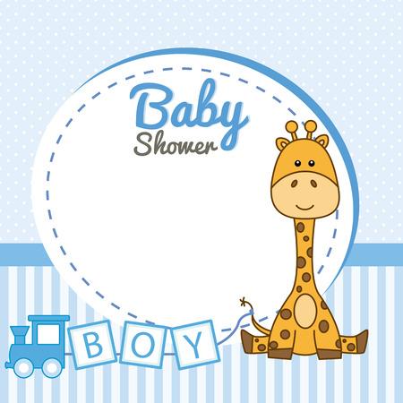 Ducha del bebé. Marco de la jirafa del bebé