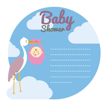 baby girl: Baby shower card. Stork with baby girl