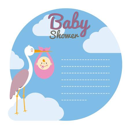 marcos decorativos: Tarjeta de la ducha del bebé. Cigüeña con el bebé