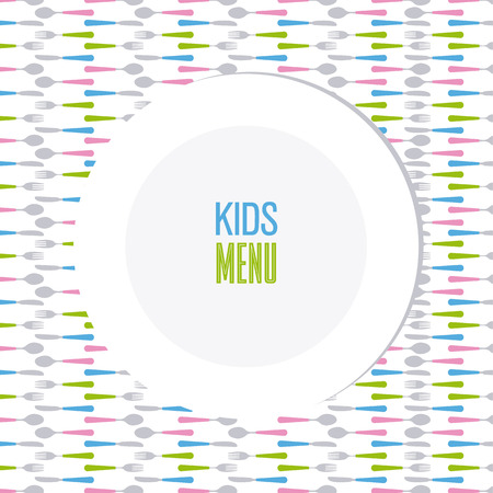 knife and fork: kids menu. background knife, fork and spoon Illustration