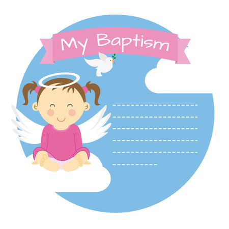 pink skies: Baptism girl. Space for text Illustration