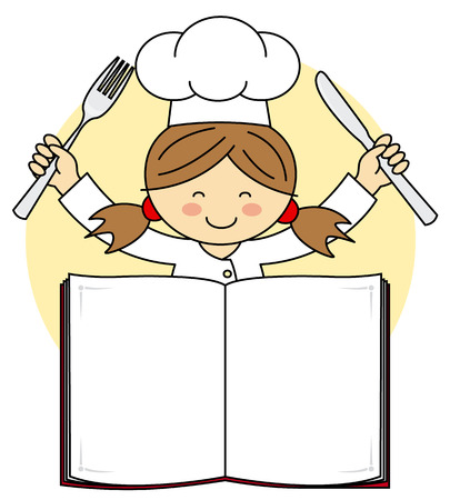 kids menu. chef girl with blank book