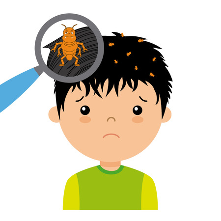 piojos: niño con piojos de la cabeza Vectores
