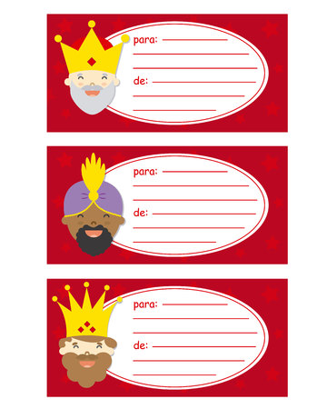 three kings: Gift tags of the three kings orient