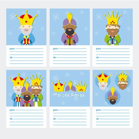 melchior: Collection of 6 Christmas card templates. Happy Epiphany written in Spanish Illustration