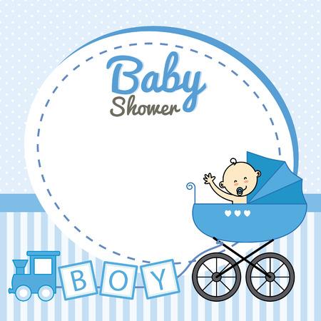 children background: baby shower. Baby boy baby carriage inside Illustration