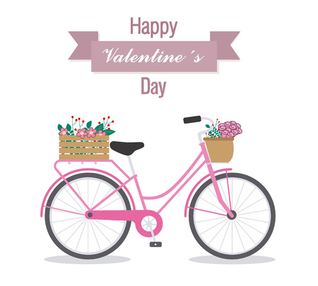 bycicle: Great card for Valentines Day. Cute bike with flowers