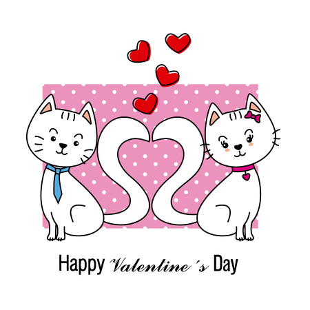 two animals: Cats in love Valentine card