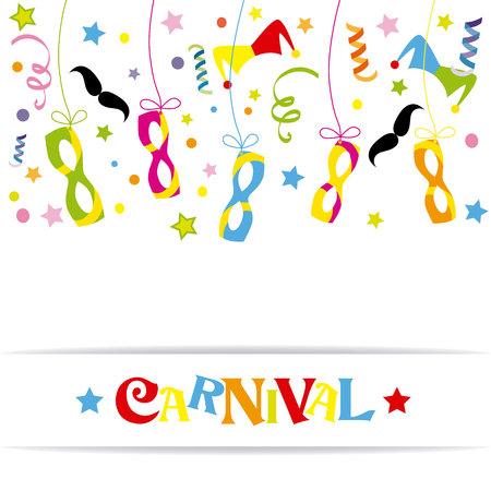 streamer: Happy carnival card Illustration