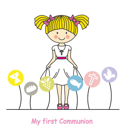 my first communion girl. Girl with communion suit and religious icons Illustration