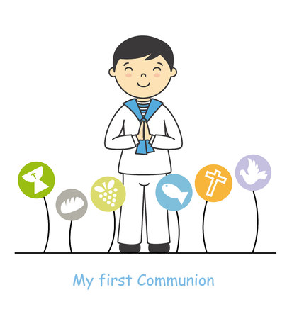 my first communion boy. Boy with communion suit and religious icons Illustration