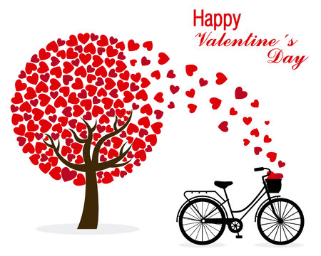 valentine card: Valentine card. Bicycle and love Tree Illustration