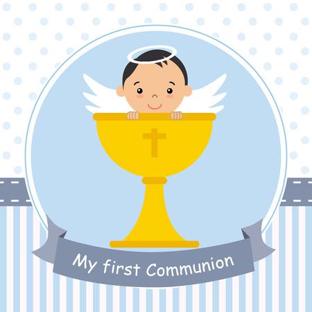 my first communion card. Angel boy with calyx
