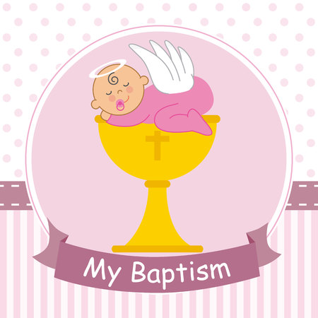 Christening card. Baby sleeping on top of a calyx Vectores