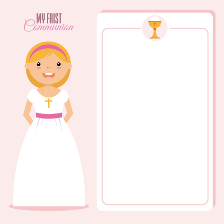 crosscountry: My first communion invitation girl. space for text. Illustration