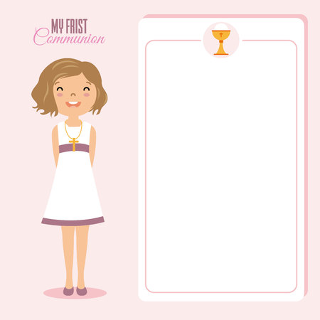 crosscountry: My first communion girl. space for text.