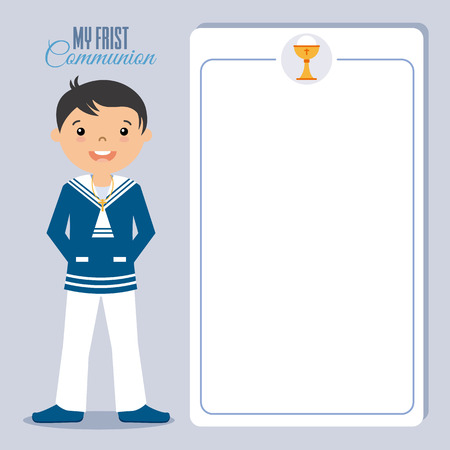 crosscountry: My boy first communion invitation. space for text. Illustration