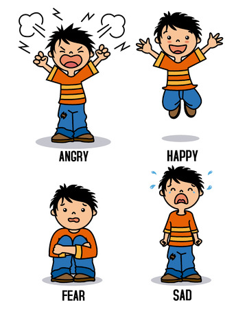 Boy emoticon showing different emotions. Happy, angry, sad and scared