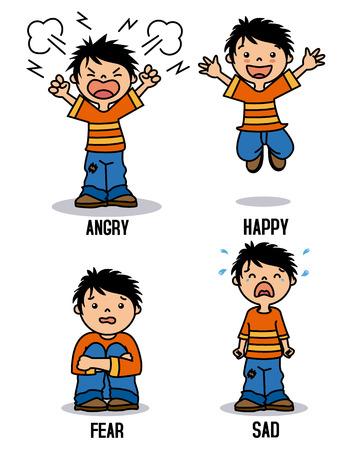 Emoticon del ragazzo che mostra le emozioni differenti. Felice, arrabbiato, triste e spaventato